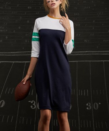 Look at this #zulilyfind! Navy & White Varsity Stripe Shift Dress #zulilyfinds