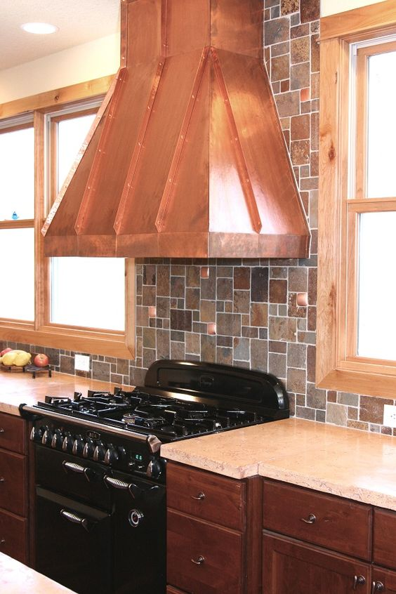 copper tin backsplash