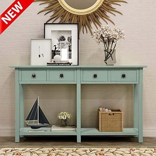 New Dangruut Upgrade Version Rustic Brushed Texture Entryway Console Table Best 59 Thicken Hallway Sofa Table Side Storage Cabinet With 4 Drawers A In 2020