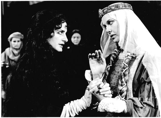 Lura Dolas as Rebecca and Annette Bening as Rowena in Ivanhoe, 1983. #calshakes40