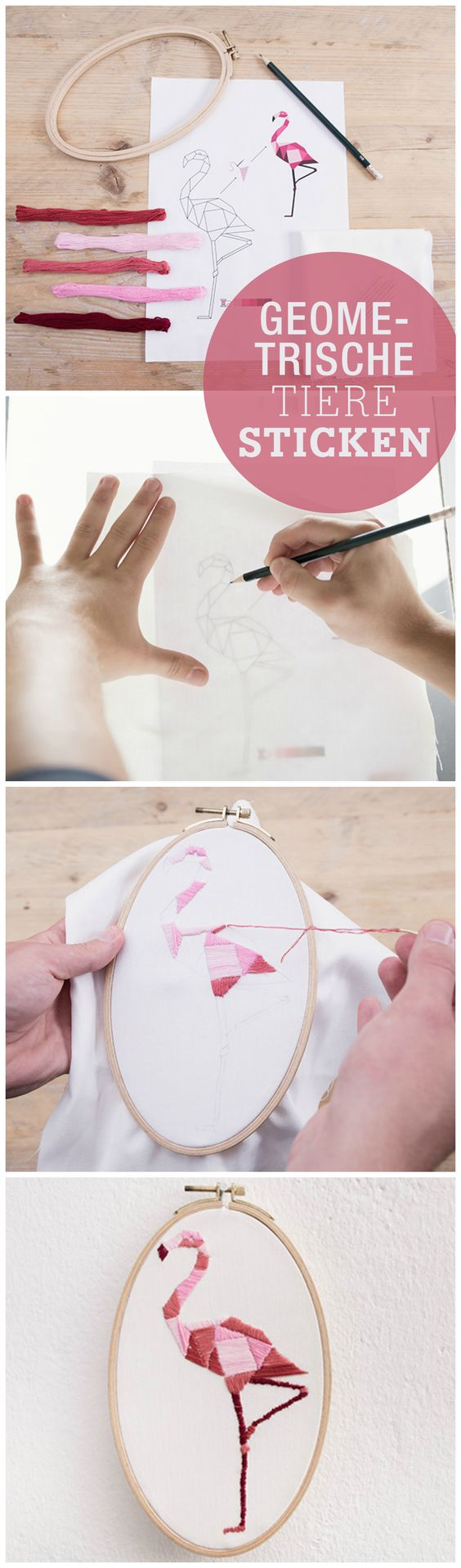 Kostenlose Anleitung: Geometrische Tiere im Stickrahmen, sticken lernen, Flamingo / free diy tutorial: create embroidery animals, geometric, pink flamingo via DaWanda.com
