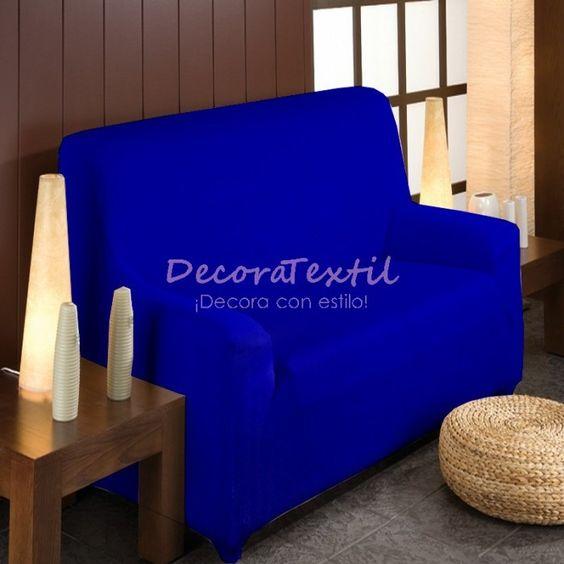 Funda Elástica Sofá Azul Eléctrico, modelo TUNEZ, adaptable a cualquier sofá, renueva y protege la tapicería del sofá, máxima calidad, tejido muy resistente,...