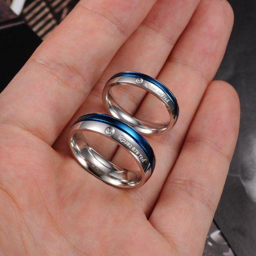 """JewelryWe Schmuck 1 Paar Edelstahl """"Roses are red"""" Partnerringe Freundschaftsringe Eheringe Trauringe Verlobung Ringe Band, Blau Silber"""