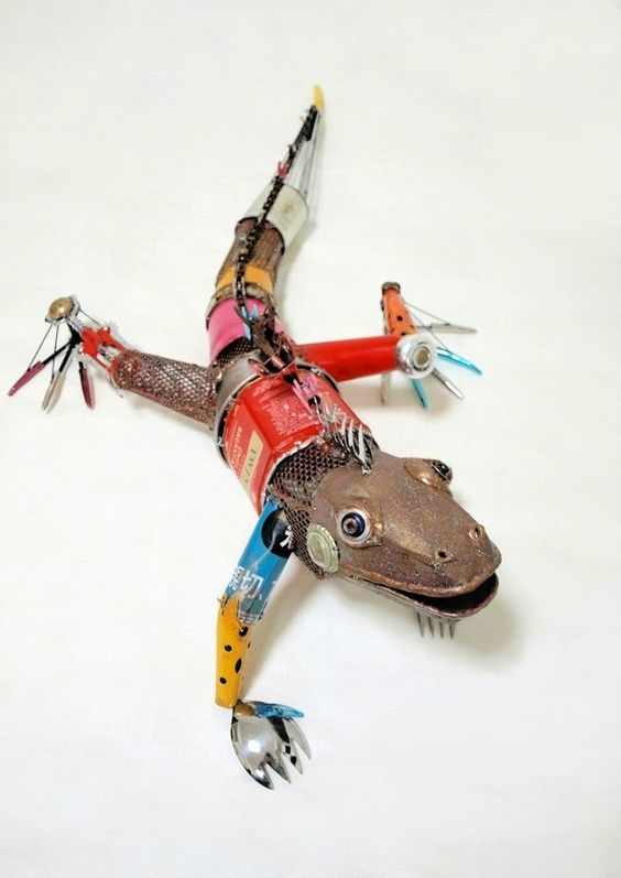 Animal sculptures made from recycled materials recycled for Waste material object