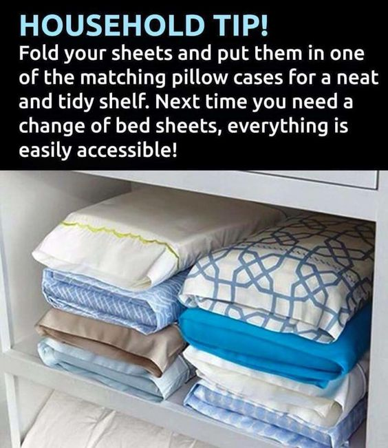 Fold up a set of sheets, put them inside matching pillowcase. Keeps all your bed linens super organized and easy to find!! Love this!!!