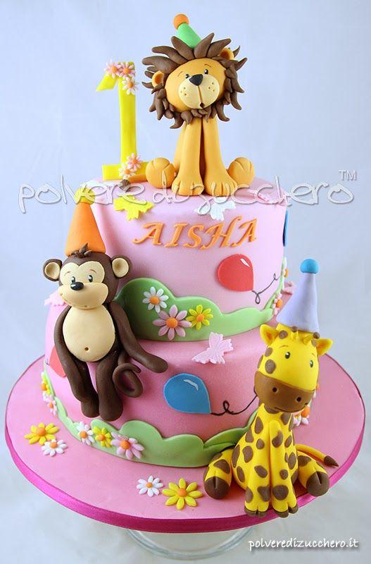 torta per il 1 compleanno di una bimba gli animali della savana leone giraffa e scimmia. Black Bedroom Furniture Sets. Home Design Ideas