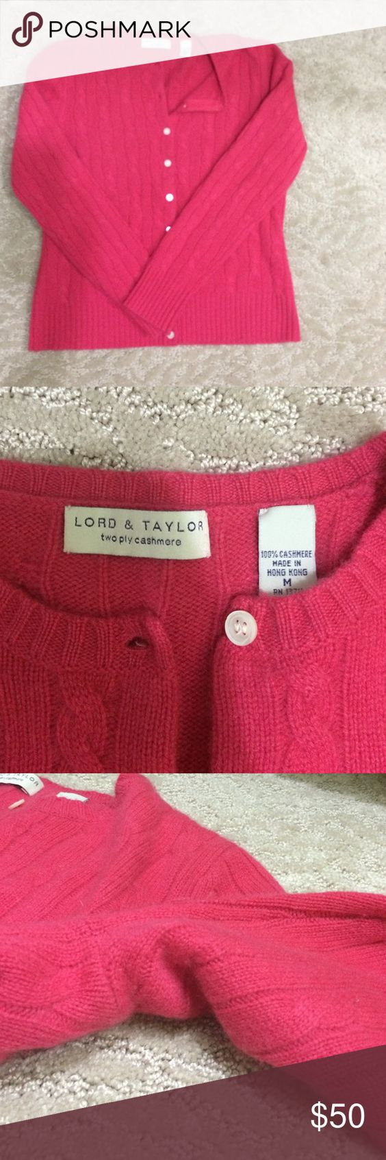 Pretty Raspberry Cashmere Cableknit Cardigan Lovely raspberry coloured button down cardigan. Cableknit with two ply cashmere. Minimal pilling, under arm (tried to capture in photo but so slight it was difficult!). Worn a handful of times, great condition! Lord & Taylor Sweaters Cardigans