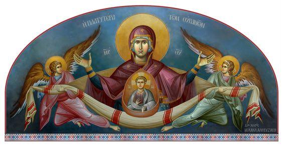 """Θεοτόκος Πλατυτέρα (έργο Μ. Αλεβυζάκη) / Theotokos """"Platytera"""" (painted by M. Alevizakis):"""
