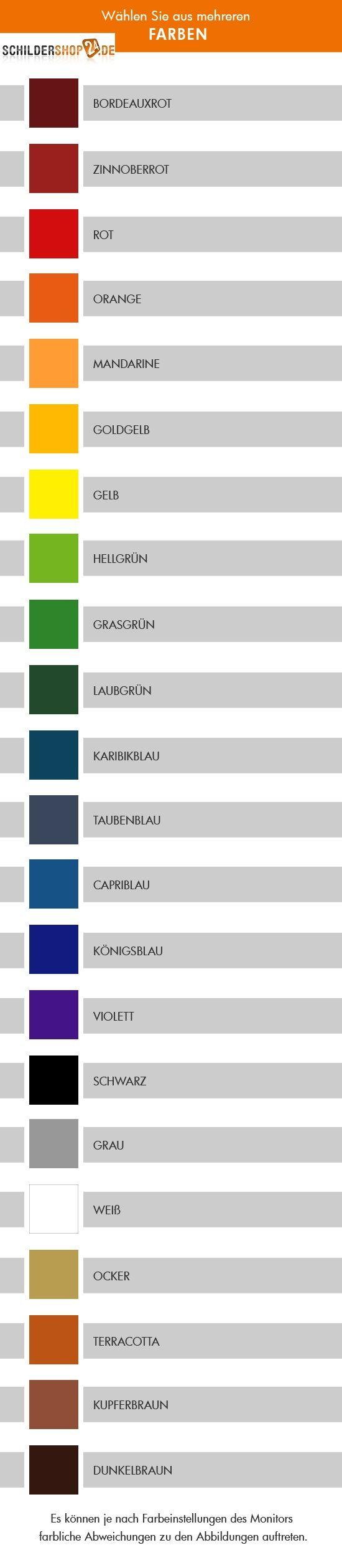 Farbauswahl individuelle Hartschaum-Schilder