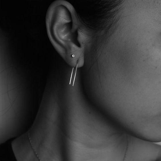 Rose Gold Earrings Rose Gold Hoops Long Earrings by everlijewelry