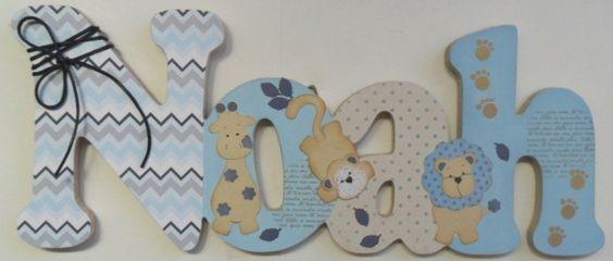 Noah safari azul porta maternidade | Scrap Name | Elo7