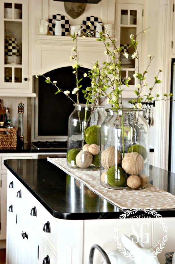 Farmhouse spring island vignette thanksgiving kitchen for Kitchen jar ideas