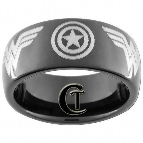 8mm Black Dome Tungsten Captain America And Wonder Woman Sizes 5 15 Customtungsten Jewelry On Artfire In 2020 Captain America Wedding Comic Wedding Tungsten Ring