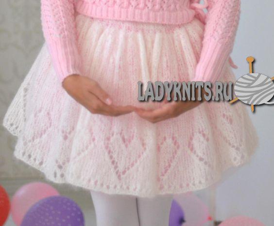 "Вязаная спицами нарядная юбка для девочки ""Красавица балерина"":"