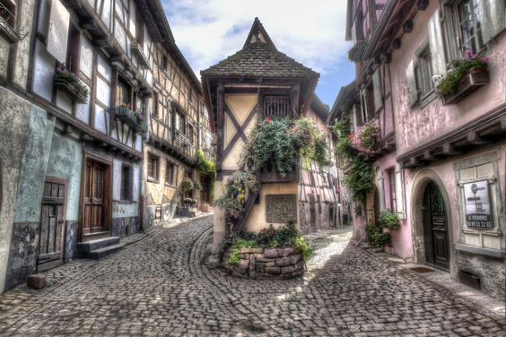 A small alley in Eguisheim, Elsass, France: