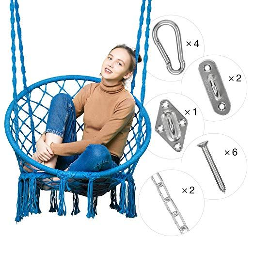 Amazon Com Greenstell Hammock Chair Macrame Swing With Hanging Kits Hanging Cotton Rope Swing Chair Childrens Hammock Chair Rope Chair Swing Swinging Chair