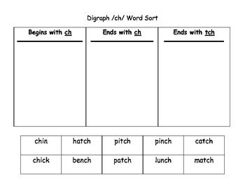Printables List Of Words With Tch phonics worksheets ch tch 1 first grade pinterest 1