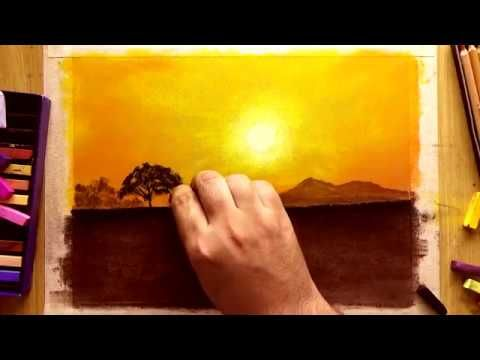 Learn How To Draw A Simple Landscape Sunset With A Chalk Pastel Chalk Drawings Beautiful Art Drawings