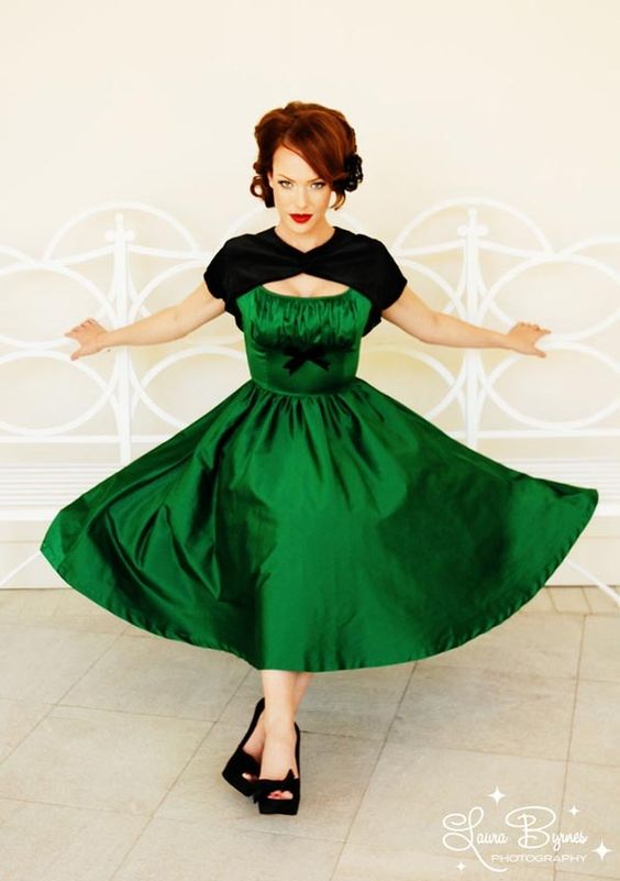 Evelyn Dress in Green Satin by Pinup Couture