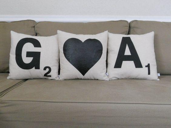 Scrabble Letter Decorative Pillows plus by countercouturedesign, $72 ...