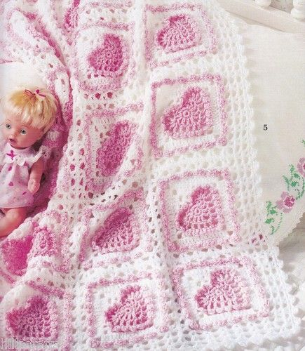 Crochet Afghan Patterns With Hearts : 7 Baby Heart Crochet Afghan Patterns Blankets Pattern Book ...