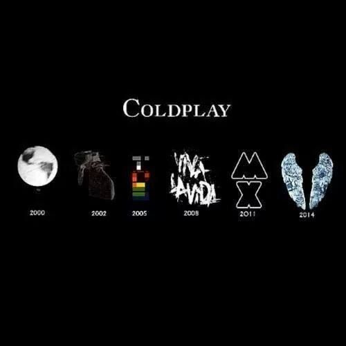 I have just realize that the wings from #GhostStories are like the shape of a broken heart<--- how cheesily brilliant... Anyway all the album covers through the years you might hate Coldplay many do but there's some good designs here