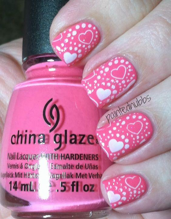 Painted Nubbs: Valentine #nail #nails #nailart