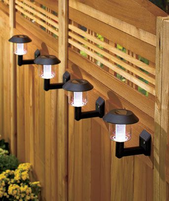 Mountable solar lights. Perfect for hanging on a fence.