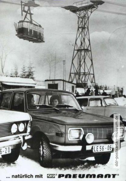 """Werbekarte für Pneumant-Reifen mit Pkw """"Wartburg"""" in Oberwiesenthal - 1983"""