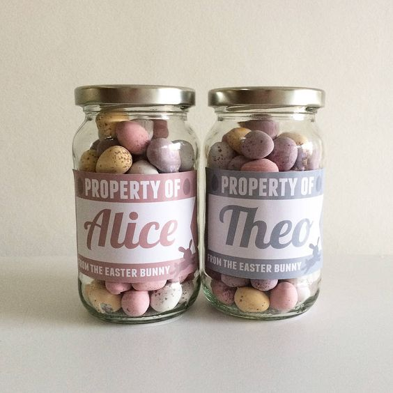 personalised labelled easter bunny glass jar by jg artwork | notonthehighstreet.com