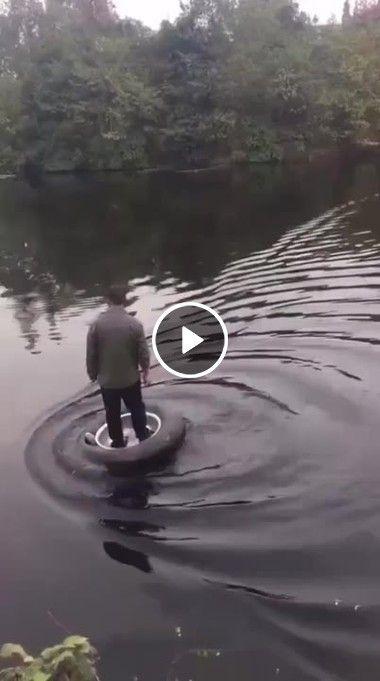 Andando sobre as água pneu.