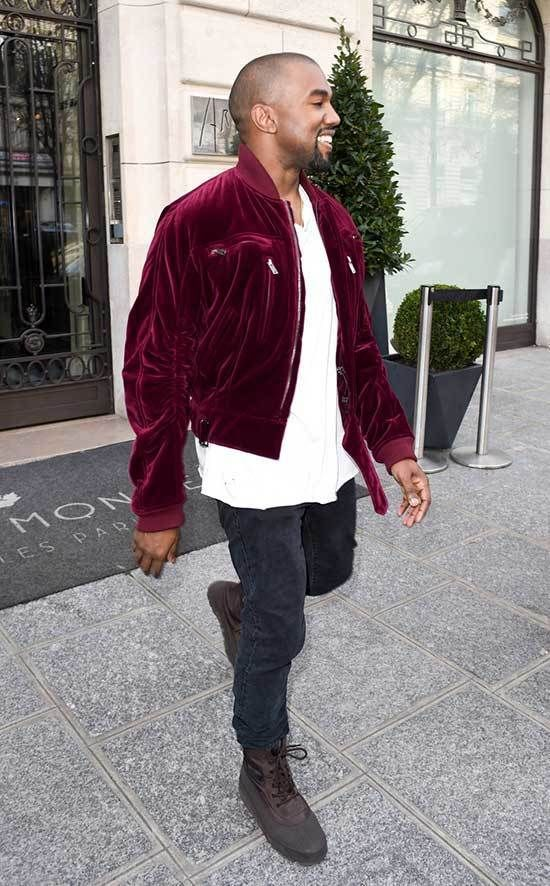 Kanye West Style Red Velvet Bomber Jacket Kanye West Style Kanye West Outfits Kanye West Jacket