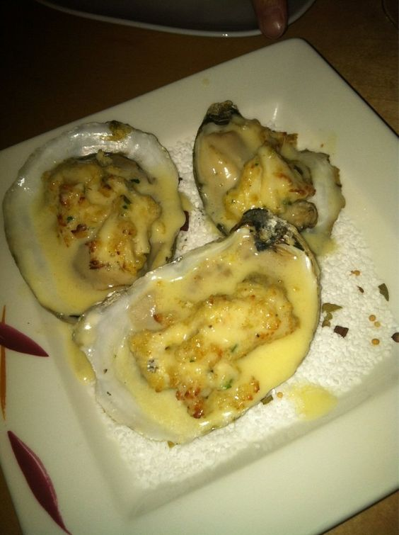 The Grilled Oyster Company - Potomac, MD, United States. 3 orders of grilled crab stuffed oysters