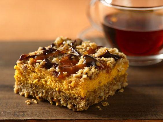 Pumpkin Streusel Cheesecake Bars.