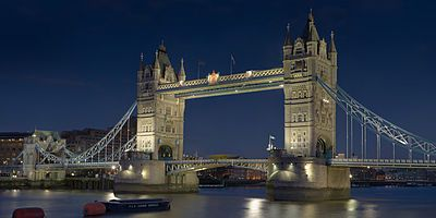 Tower Bridge is a combined bascule and suspension bridge in London which crosses the River Thames. It is close to the Tower of London, from which it takes its name, and has become an iconic symbol of London. If your lucky see the bridge open as well!