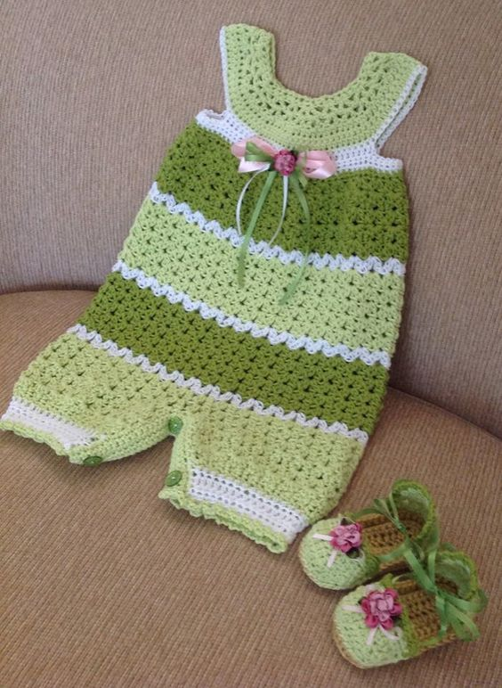 crocheted baby romper 6-9 months with matching shoes ...
