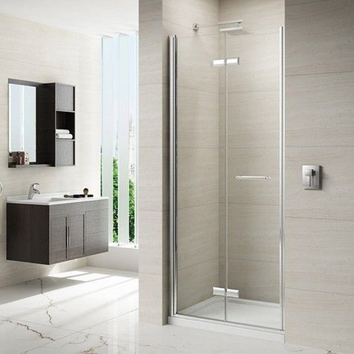 M87111 Merlyn 8 Series 760mm Frameless Hinged Bi Fold Shower Door
