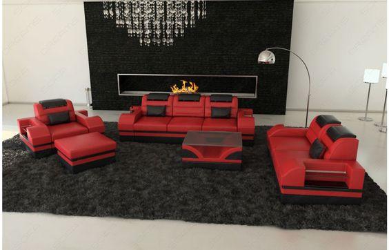 Ideal  Design Leder Couchgarnitur PARMA mit LED Beleuchtung Exklusiv bei Sofa Dreams Leder Couchgarnitur PARMA LED Pinterest Parma