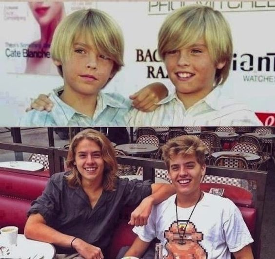 Cole and Dylan Sprouse then and now.... Oh Dylan you grew up well. :)