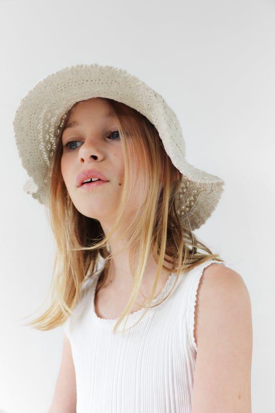 Ribbed T Shirt With Lace Trim Zara Spain Girls Accessories Zara Crochet Bucket Hat