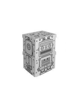 Set di scatole porta giochi in cartone - Robot - Le civette sul Comò - design per bambini e genitori