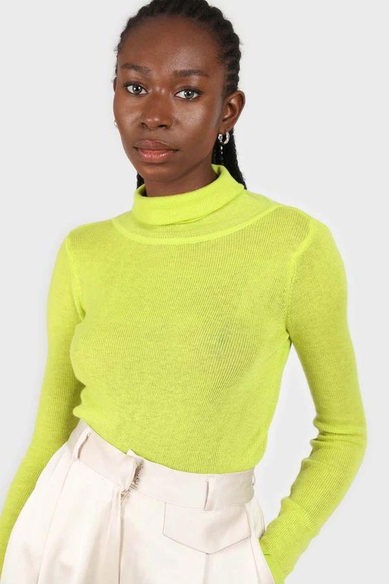 Bright green wool blend turtleneck top