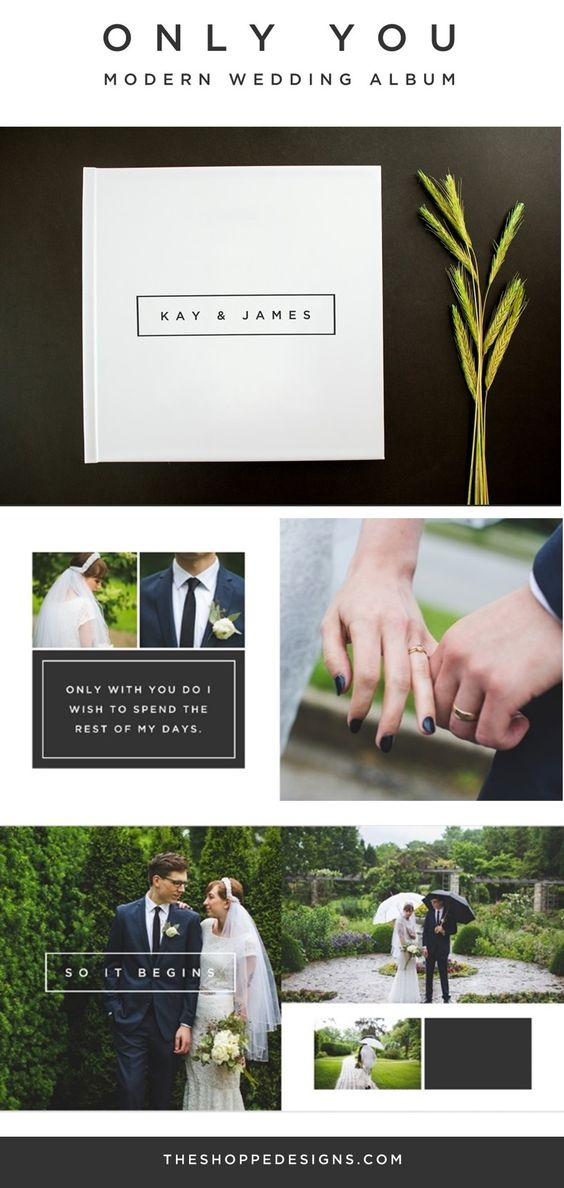 Wedding Album Template --> A clean, modern wedding album design for your special day! Just add your images in Photoshop and you are done!  Can also be resized to smaller albums as well for an 8x8 album  Includes10 spreads as well as cover and back page: