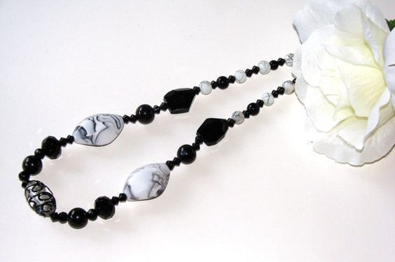 Black and White Necklace.  Black Necklace.  White by VsBeadDesigns, $40.00