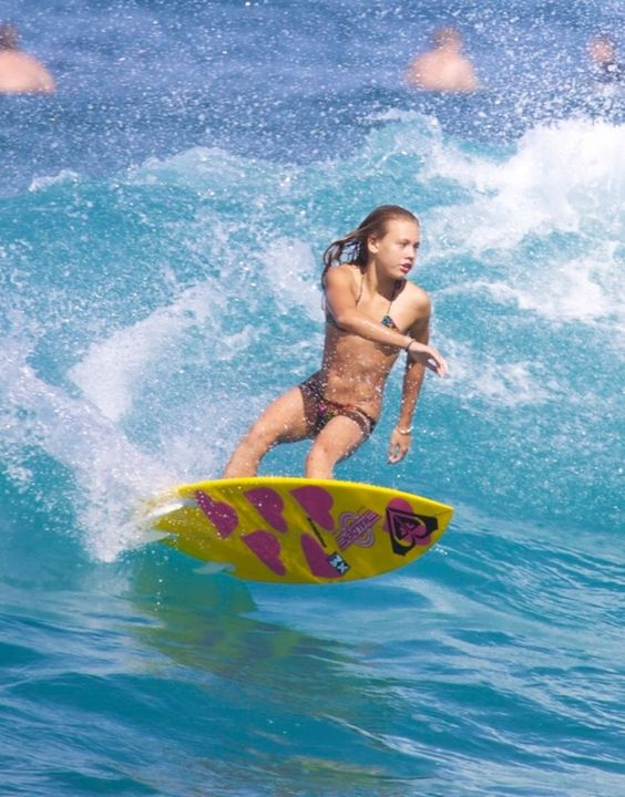 Surfer Girl Vanina  Walsh at 12 years old on the North Shore of Oahu in Hawaii
