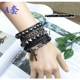 leather and metal bracelets