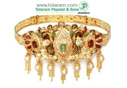 Buy 22K Gold 'Peacock' Arm Patti (armlet) with Ruby - ARMV270 with a list price of $2,373.99 - 22K Indian Gold Jewelry from Totaram Jewelers