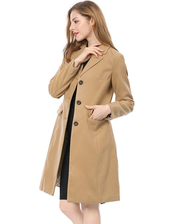Amazon.com: Allegra K Women's Notched Lapel Button Closure Worsted Coat: Clothing
