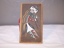 Vintage Southwest Native American Sand Painting Rainbow Boy
