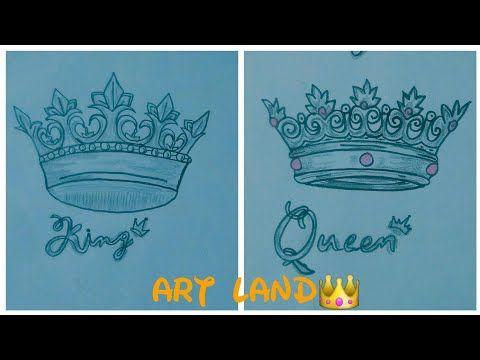 رسم تاج الملك والملكه بسيط وجميل خطوه بخطوه للمبتدئين رسم تاج How To Draw King And Queen Crown Youtube Art